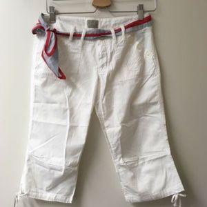 Bebop White Capri Pants with belt, size One